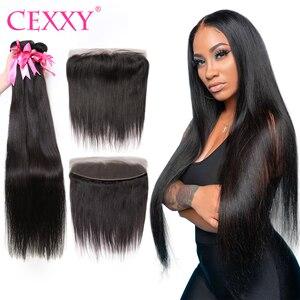Пряди CEXXY Straigth с фронтальным бразильским плетением волос, пряди с 13x4 фронтальным швейцарским кружевом, человеческие волосы для наращивания,...