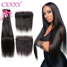 CEXXY Straigth-mechones con extensiones de pelo ondulado mechones brasileños frontales con encaje suizo de 13x4, extensión de cabello humano de Color Natural
