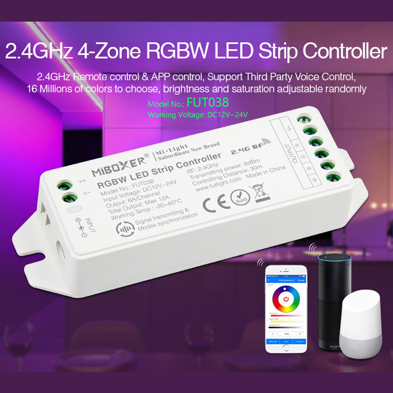 FUT038(upgrade)2.4G 4-Zone RGBW LED Strip Controller DC12~24V Dimmable Driver 6A/Channel Common Anode Can Remote/voice Control