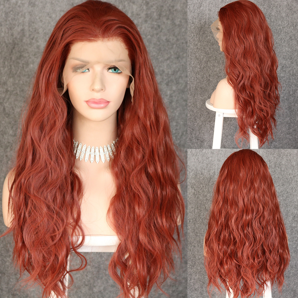 Lvcheryl Natural Long Loose Curly 350# Color 13x6 Synthetic Lace Front Wigs Futura Hair Lace Wigs For Women