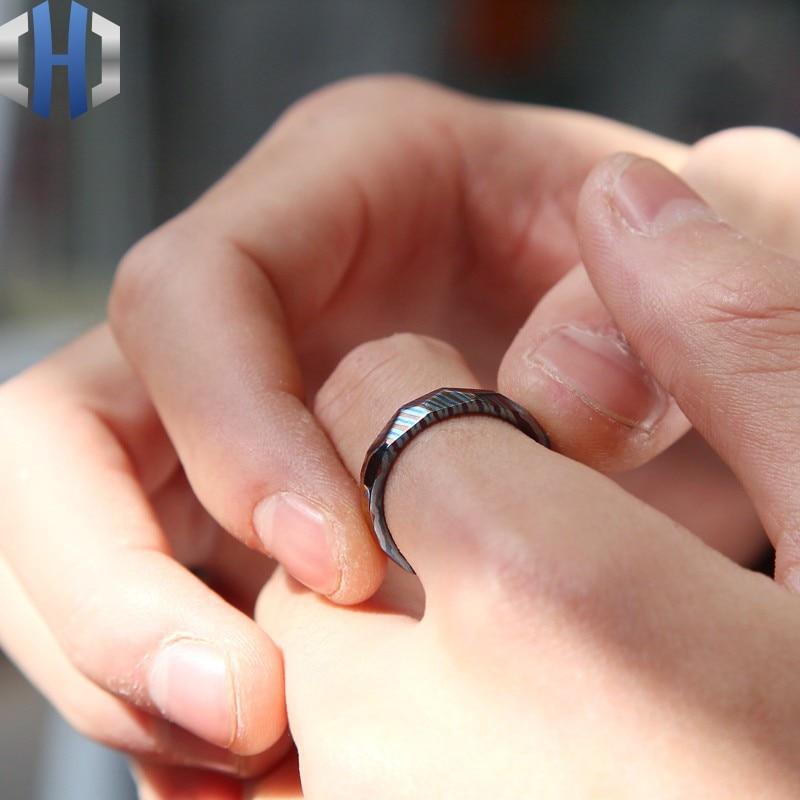 Ring Pendant Titanium Alloy Damascus High-end Metal Three Widths