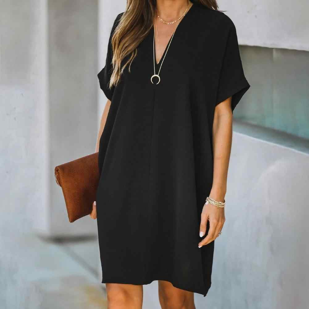 NEW Stylish Women Short Sleeves O Neck Solid Color Casual Loose Lantern Dress