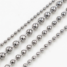 5 Meters/Lot 1.5/2.0/2.4/3.0mm Beaded Ball Stainless Steel Bulk Ball Bead Chains For DIY Necklaces Jewelry Making Accessories 5m lot 1 5mm metal ball bead chains 7colors ketting kettingen bulk bulk iron chains for diy jewelry accessories