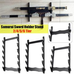 2/4/5/6 Tier Wall Mount Samurai Sword Katana Holder Stand Display Statues Sculptures Holder for Home Decoration Crafts