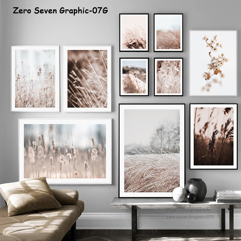 Vintage Botanical Autumn Dried Flower Natural Pampas Grass Art Print Poster Canvas Painting Wall Picture For Living Room Decor