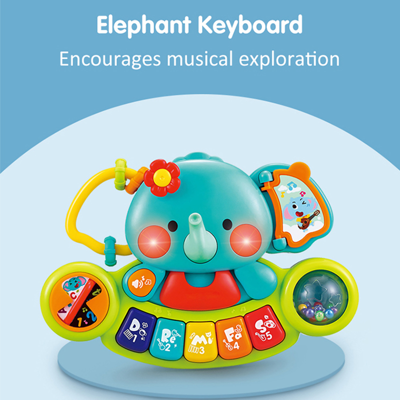HOLA 3135 Baby Toys 0 12 Months Elephant Keyboard Piano Toy With Music & Lights Toy Musical Instrument For Toddler Kids Gifts