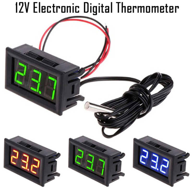 LED Temperature meter Detector Sensor Probe 5V-12V Digital Thermometer Monitor tester