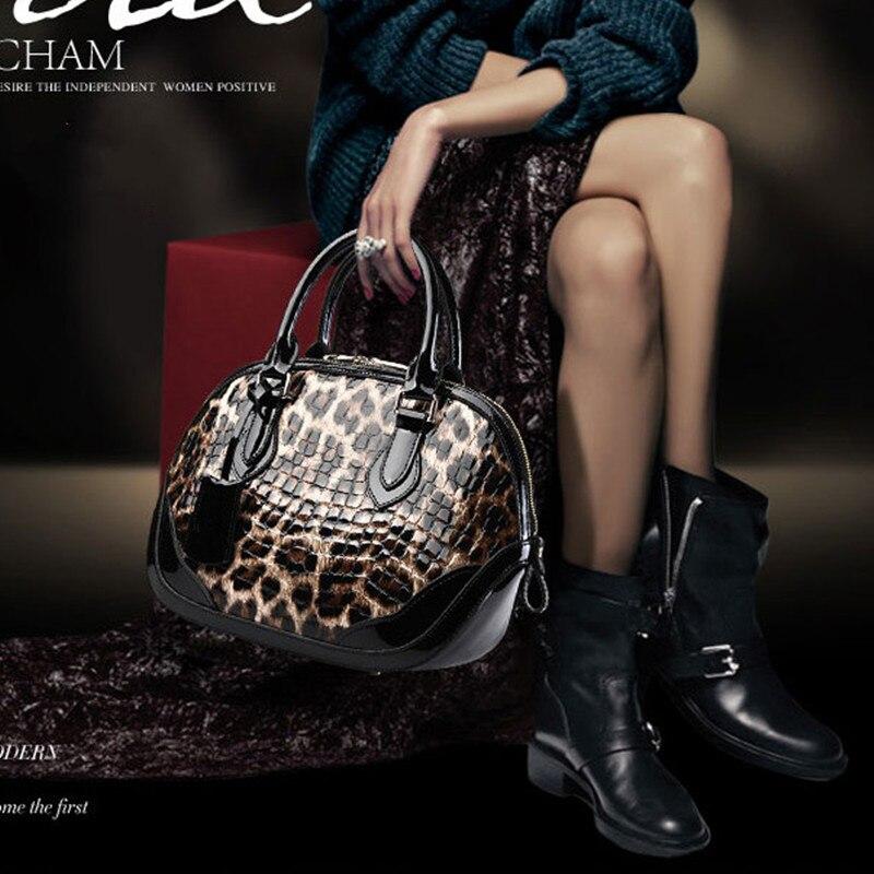 Genuine Leather Women Bag\Handbag Fashion Leopard Pattern Shell Bag Female Cowhide Tote Ladies' Shoulder Bag\Messenger Bag Brand