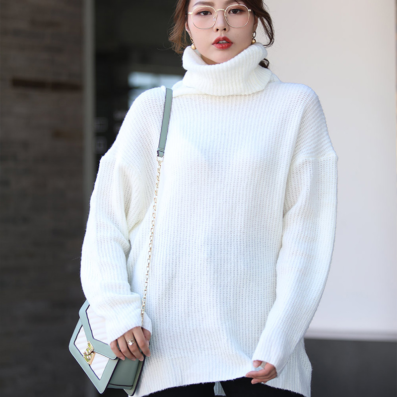 Women's Sweater Autumn Oversize Knitted Pullovers Long Batwing Sleeve Winter Solid Women Sweaters 2019 Casual Basic Top Jumper