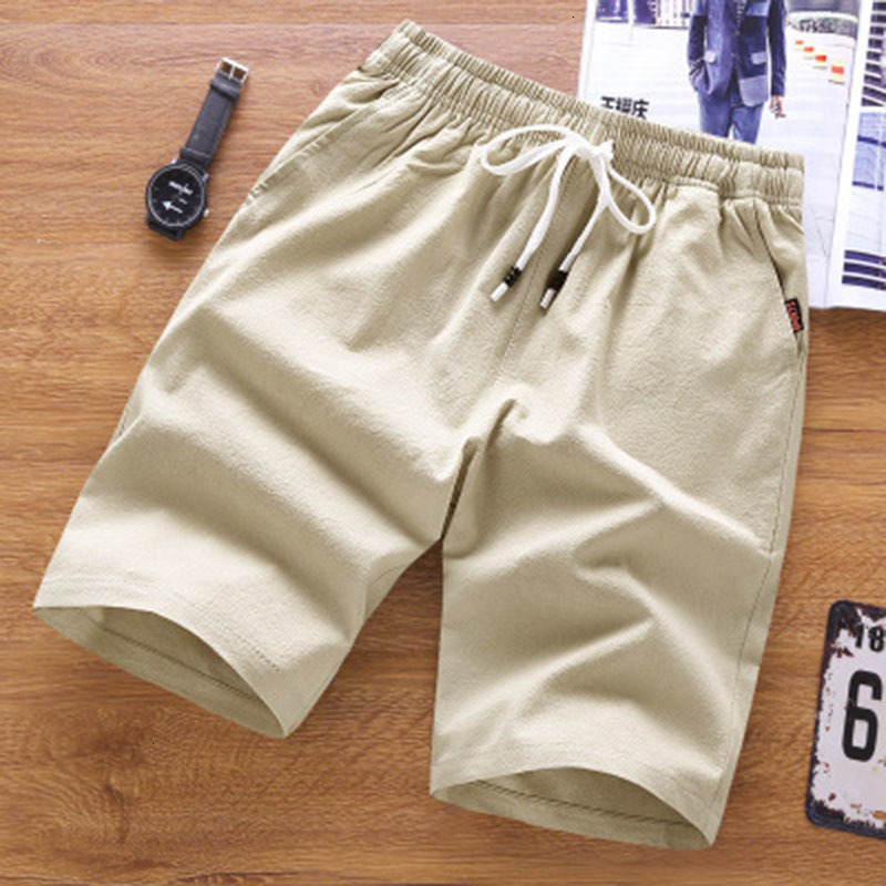 2019 Summer Sports Shorts Men's Solid Color Tie Waist Loose Cotton Breathable Shorts Male Sports Casual Jogging Shorts Homme