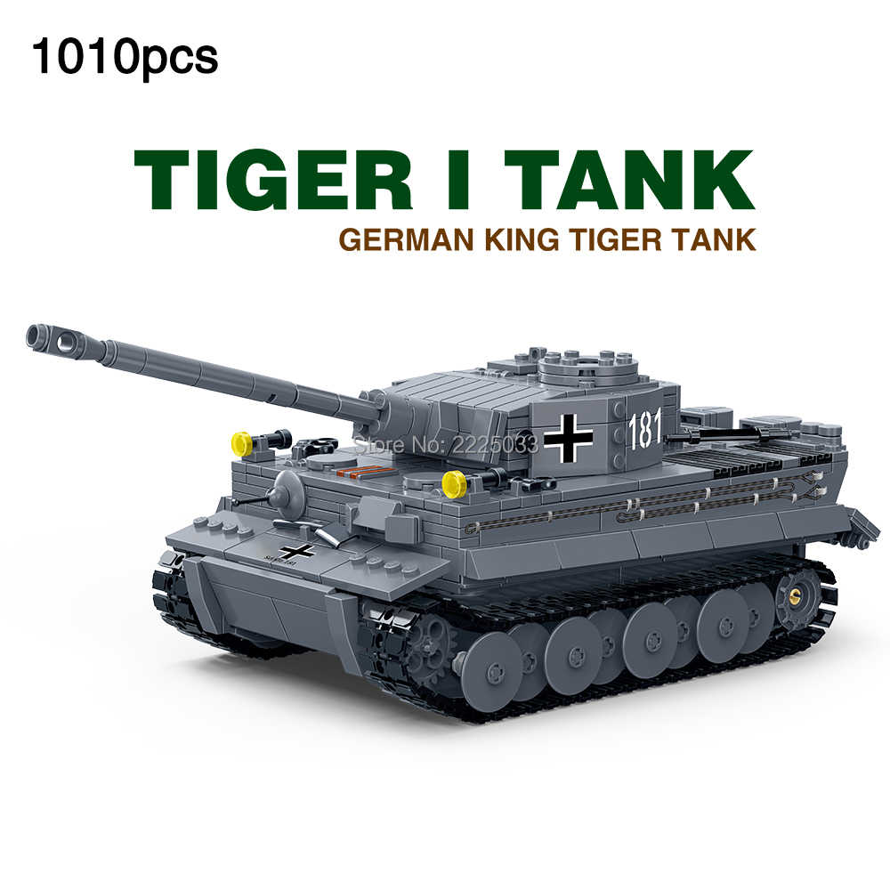 1:28 Compatible legoingly Military ww2 German King Tiger I Tank Truck World War Army Soldiers Building Blocks Toys For Children
