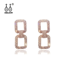 DREJEW Gold Silver Rose Black Square Shiny Rhinestone Statement Earrings 2019 925 Crystal Drop for Women Jewelry HE103