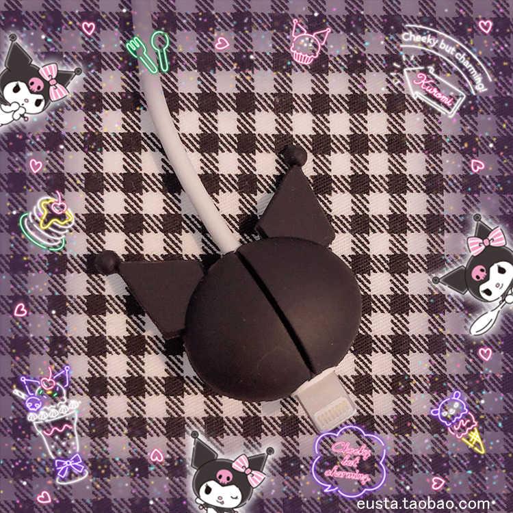 1 adet karikatür Kuromi kafa cep telefonu kablo koruyucu