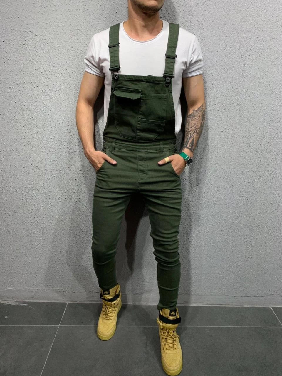 Europe And America Hot Selling Workwear Multi-pockets Suspender Trousers Men Casual Slim Fit Woven Jumpsuit