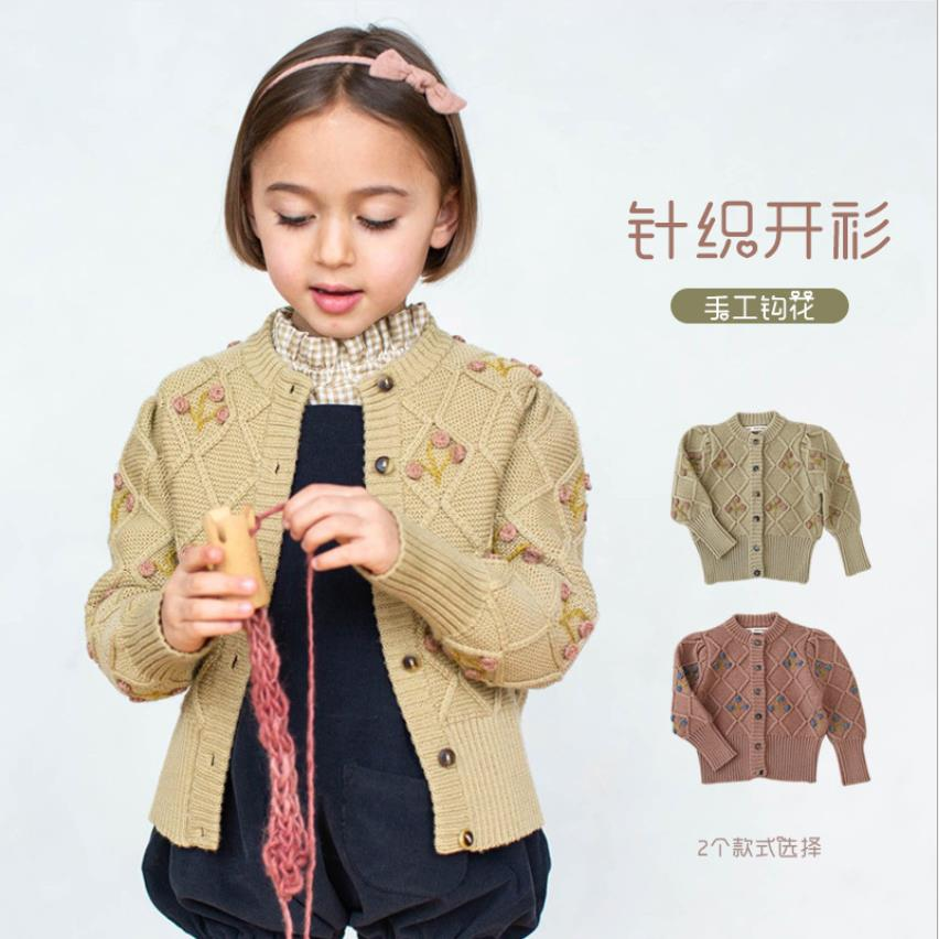 2021 spring autumn new embroidery Cardigan girl cotton sweater children Beautiful Sweet Brand Design Clothes Kid tops ws942