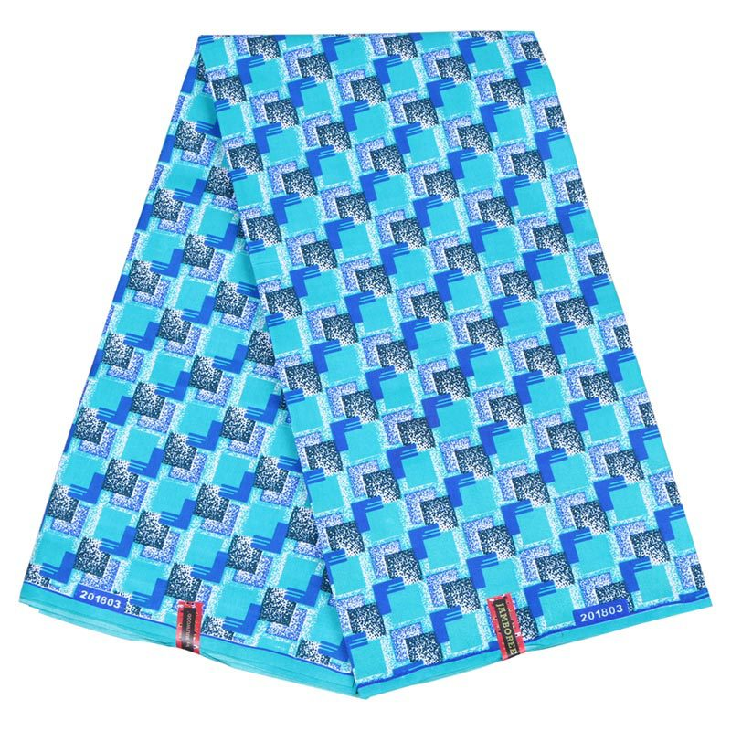 Wax Fabric African-Wax Ankara Blue for Spring 110cm 6-Yards Polyester Wholesale High-Quality title=
