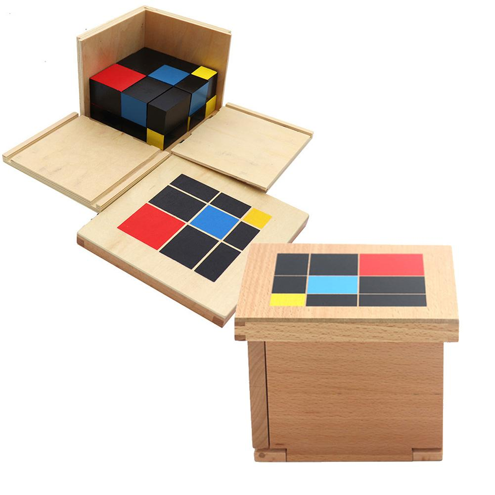 Montessori Sensorial Toys Math Learning Teaching Supplies Binomial Cubes And Trinomial Cubes Wooden Educational Toys for kids