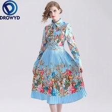 Плиссированное Платье миди с принтом для женщин Осеннее Повседневное