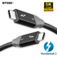 Thunderbolt 3 Cable 40Gbps PD 5A 100W Fast Charging USB C To C DisplayPort 4K 5K HD For MackBook Pro Air iMac USB-C Charger Cord