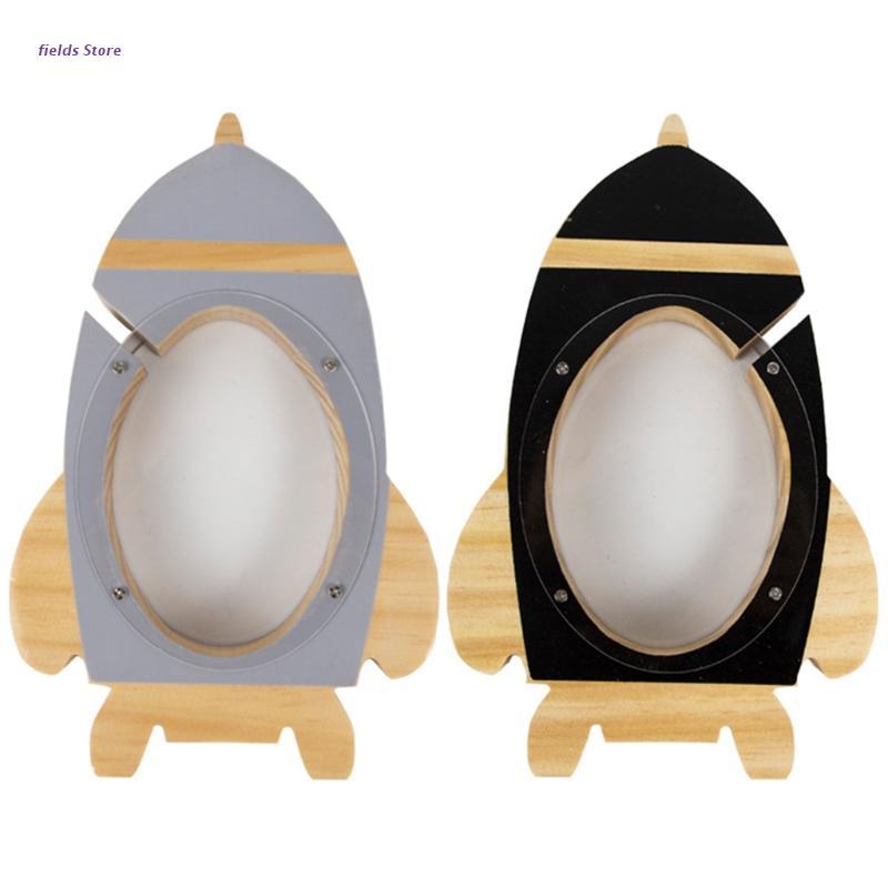 Wooden Rocket Piggy Bank  Decoration for Kids Room Money Box for Boy Room Decor XX9E
