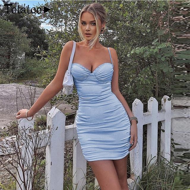 Totatoop Lace Up V Neck Ruched Bodycon Mini Dress Women 2020 Summer Hollow Out Ruffles Sundress Beachwear Vestidos 4