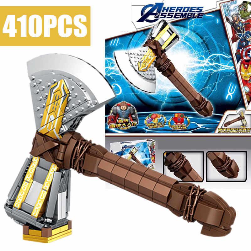 Yeni süper demir kahraman oyuncak silah Thanos Thor adam Infinity dayağı Mjolnir yıldız Stormbreaker Wars teknİk yapı taşı tuğla çocuk