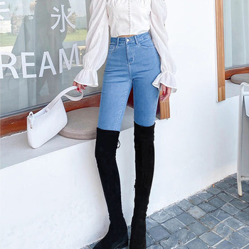 High Waist Jeans for Women Slim Stretch Bodycon Skinny Push Up Jeans Bottom Korean Denim Pants Trousers Mujer Pantalones 2017 jeans femme taille basse elastic waist jeggings jeans mujer push up slim skinny women high stretch legging pencil pants