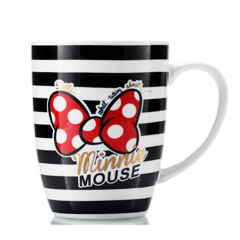 400ml Disney Minnie Mickey Cartoon Water Cup Milk Coffee Tea Ceramic Mug Home Office Collection Cups Love Couple Mugs Women Gift
