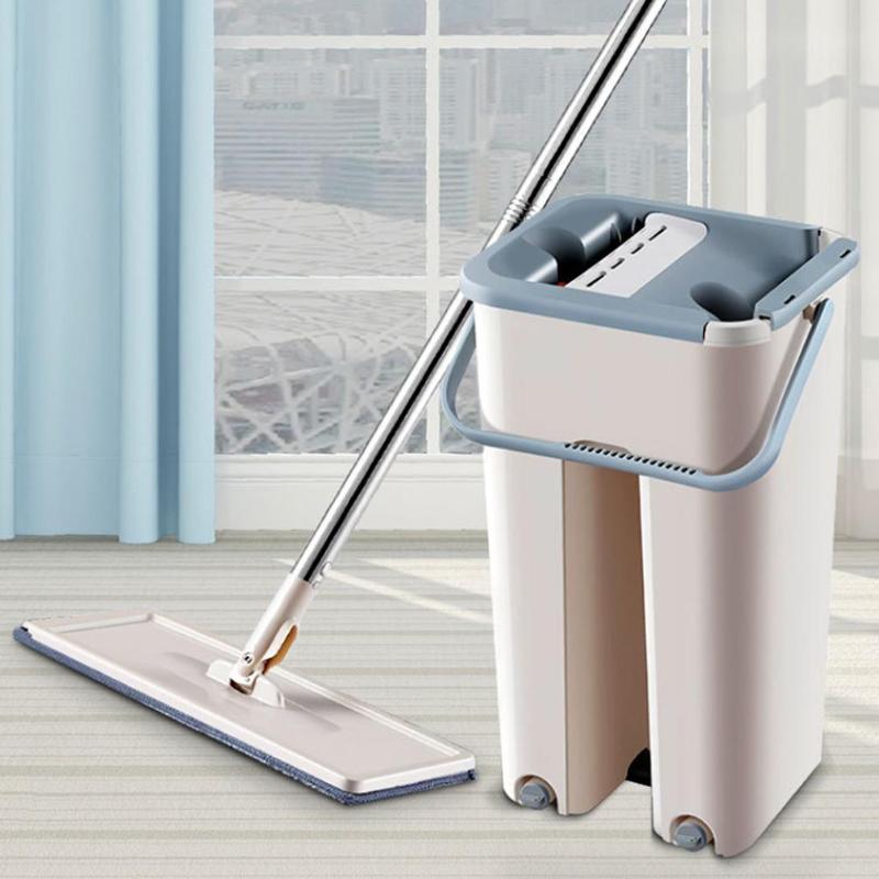 Fregona plana con almohadillas de microfibra y cubo para escurrirla, limpieza de suelo, uso húmedo o seco en baldosas laminadas de madera dura