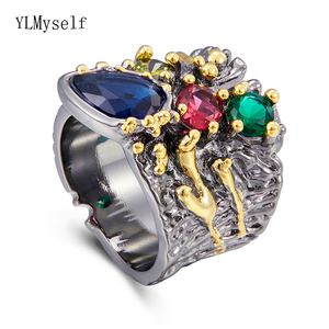 Image 4 - Large Wide Ring Blue Multi Colorful Stones Fashion Jewelry Top Jewellery Big Rings for women