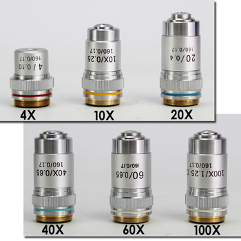 4X 10X 20X 40X 60X 100X 195 Microscope Objective Lens Achromatic Objective Laboratory Biological Microscope parts