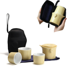 Ceramic Quick Cup Set One Pot Three Cups Kung Fu Tea Teapot Portable Outdoor Storage Travel gift Free shipping