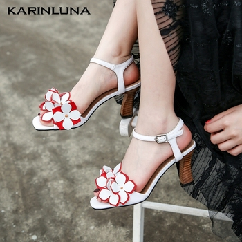 KarinLuna 2020 New Fashion Sweet Genuine Leather Women Sandals Strange Style Heel Peep Toe Flower Pumps Summer Dress Women Shoes