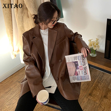 Long-Sleeve XITAO Coat Turn-Down-Collar Faux-Leather Vintage Double-Breasted New-Style