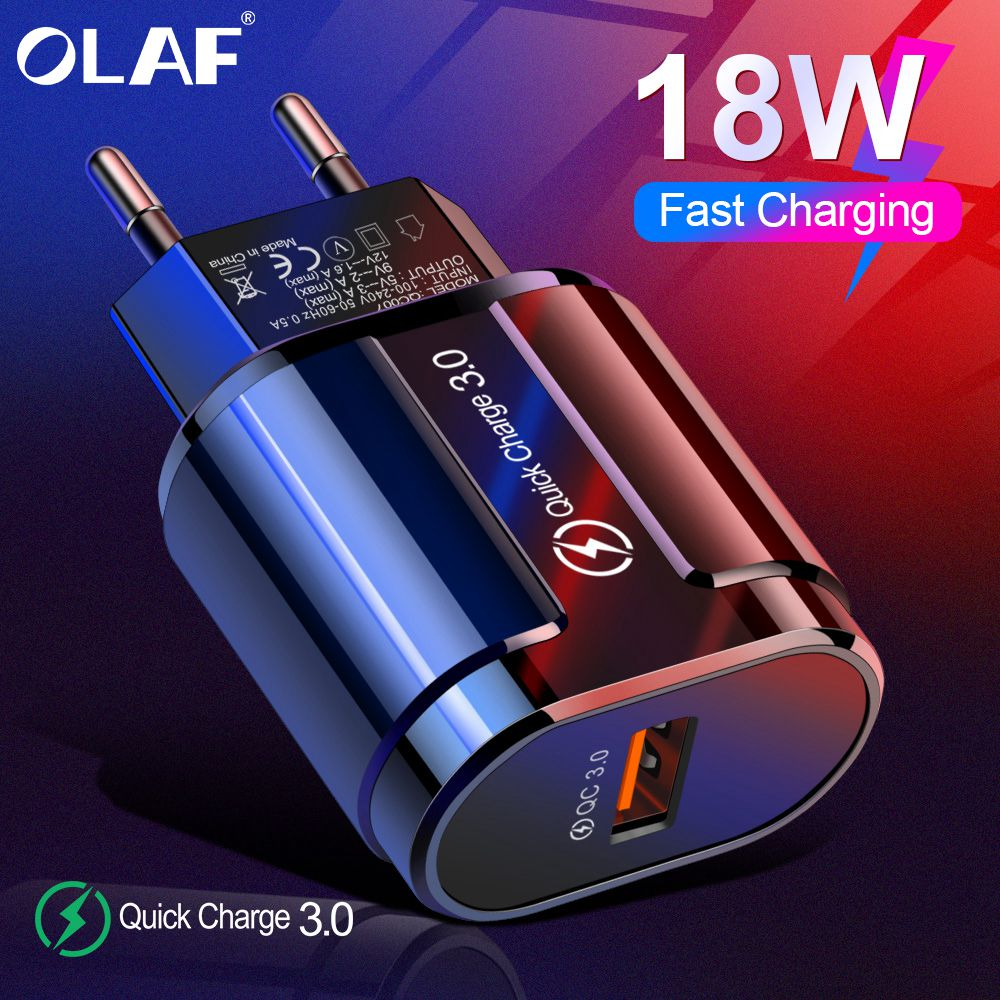 OLAF Quick Charge QC 3.0 USB US EU UK Charger Universal Mobile Phone Charger Wall USB Charger Adapter For IPhone Samsung Xiaomi