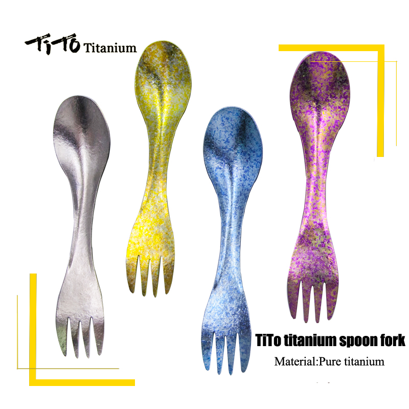 TiTo Titanium Spork Outdoor Travel Spoon Fork Portabale Flatware Camping Fork Spoon Sports Backpacking Titanium Spoon