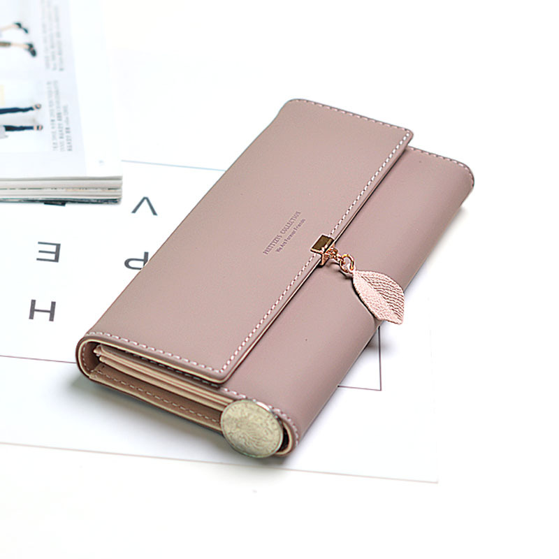 New Style Japanese and Korean-Style Leaves Long WOMEN'S Wallet Student Multi-functional Large-Volume Leather Wallet Wallet WOMEN
