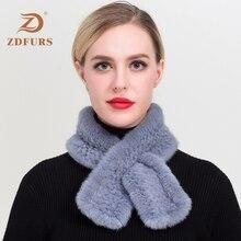 ZDFURS* new lady  real mink scarf short paragraph cross Korean version handmade women knitted fur collar Mink Fur Shawl Scarves