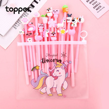 20 sticks cartoon gel pen creative cute girl pink student generation set black 0.5MM