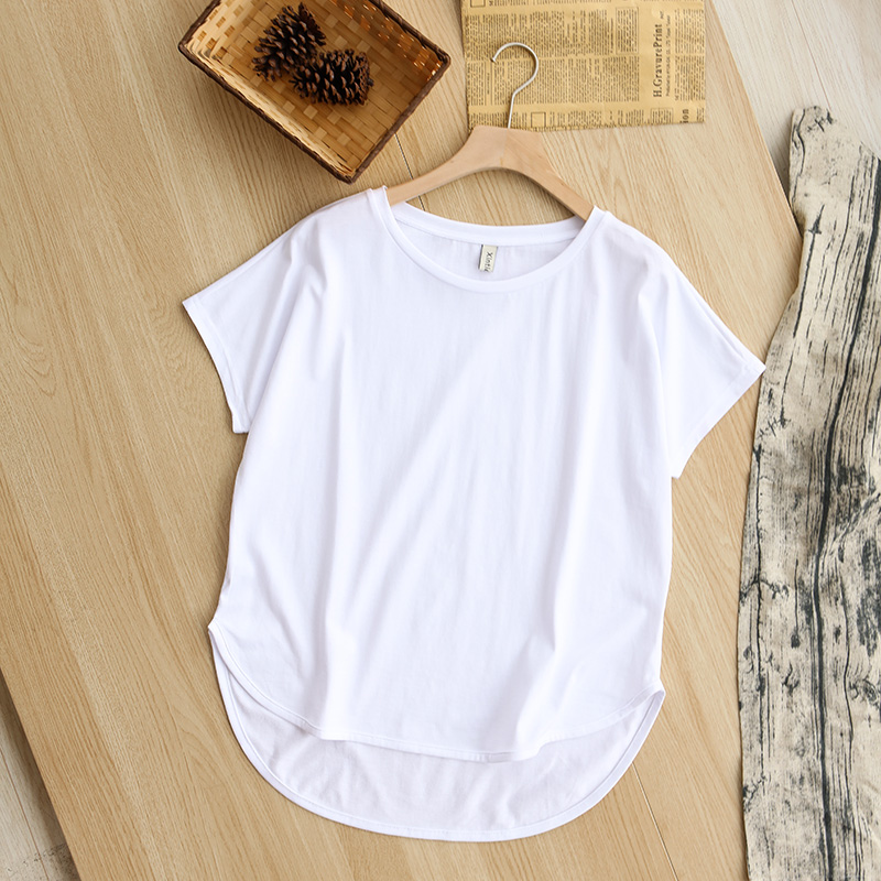 Hcf22d78ff5444f9f97637b43624681c99 - 100% cotton Loose Casual Summer Short Sleeve Female T shirt Women asymmetric O-neck Tee Tops M30326