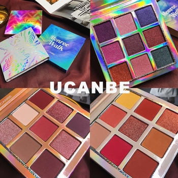 UCANBE Brand Shimmer Matte Eyeshadow Makeup Palette 9 Colors Holographic Nude Glow Pigment Eye Shadow Long Lasting Cosmetic Set