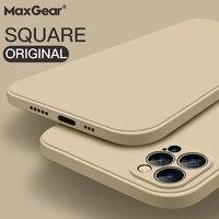Custodia in Silicone liquido quadrata originale di lusso per iPhone 12 11 Pro Max Mini X XR XS Max 7 8 6s Plus SE 2020 Cover morbida antiurto