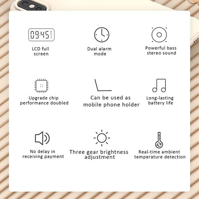 Multifunction Alarm Clock Mirror LED Alarm Clock Multifunction Wireless Bluetooth Music Player Electronic Digital Alarm Clock 6