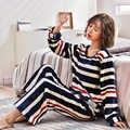 Conjunto de Pijama de franela gruesa y cálida para Mujer, Pijama de terciopelo Coral de manga larga para invierno, ropa de cama informal a rayas, Pijama de Mujer