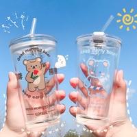1 / 2pcs simpatico bicchiere di orso animale, tazza di paglia a tenuta stagna, tazza di acqua, succo di frutta, tazza di latte bicchiere bicchiere per bere
