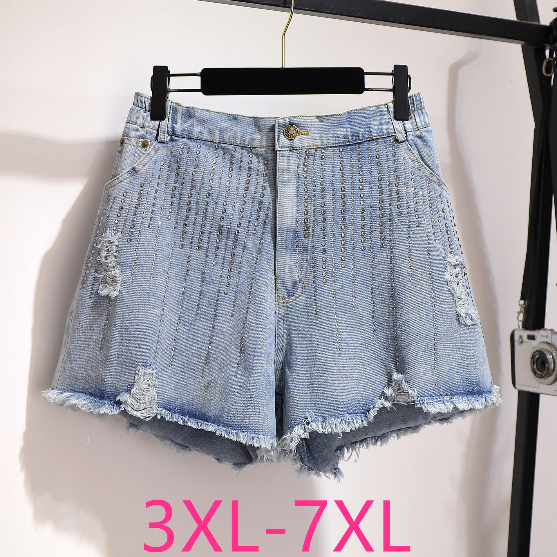 2020 Spring Summer Plus Size Denim Shorts For Women Large Loose Casual Elastic Waist Hole Wide Leg Shorts Blue 4XL 5XL 6XL 7XL