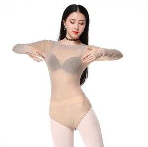 Image 2 - Женское блестящее трико с открытым бюстом, топ для танца живота с длинным рукавом и блестками