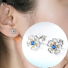 Strollgirl 100% 925 Sterling Silver Daisy Flower Clear CZ Stud Earrings for Women Jewelry Valentines Day Gift