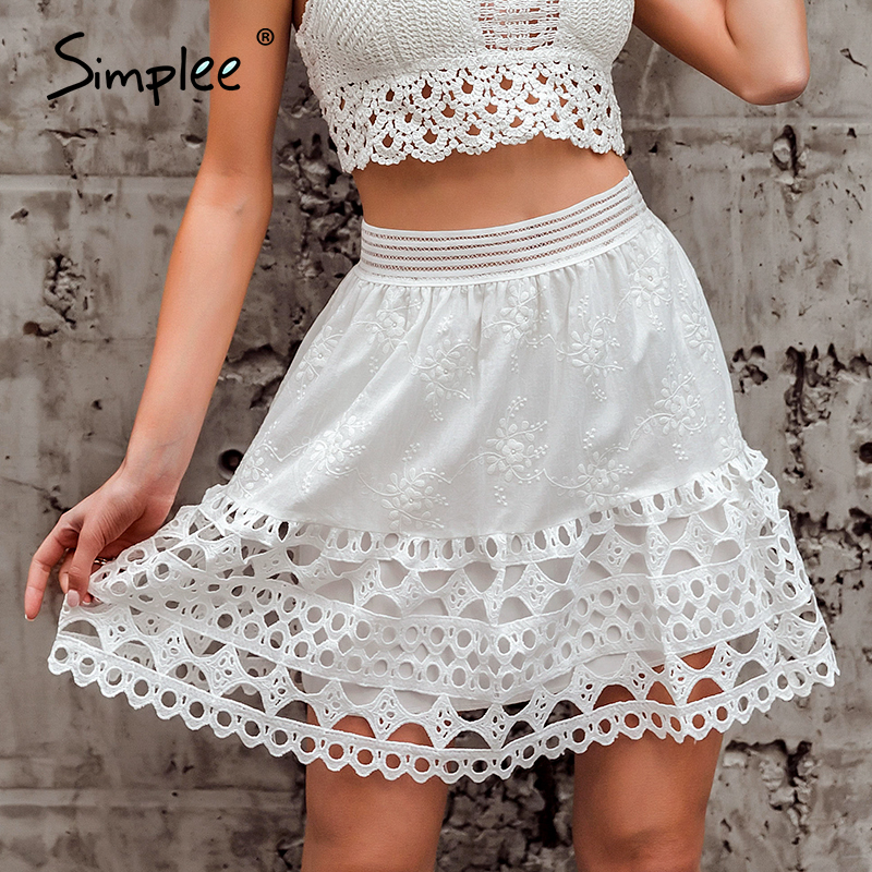 Simplee Hollow Out Embroidery Mini Skirt Women Elastic High Waist Female Cotton Skirts Spring Summer Ladies White Skirts Bottoms