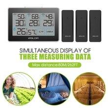 3 Draadloze Afstandsbediening Sensor Weerstation Smart Home Thermometer Hygrometer In/Outdoor Touch Screen Digitale Temp Vochtigheid Monitor
